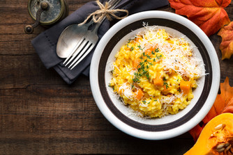 Pumpkin risotto with thyme and parmesan
