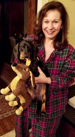 """Bedtime in the Zook family (gotta love my oversized favorite plaid flannels). Louie decided """"dog"""" is"""