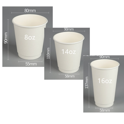 Paper cup double wall (500pcs)