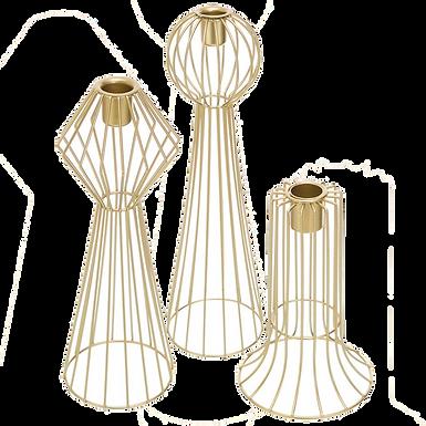 Geometric Candlesticks (Set of 3)