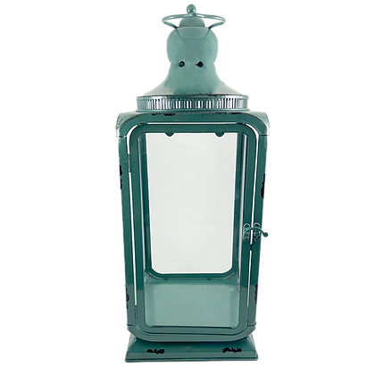 Teal Glass Lantern