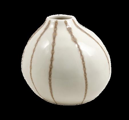 White Striped Ceramic Vase