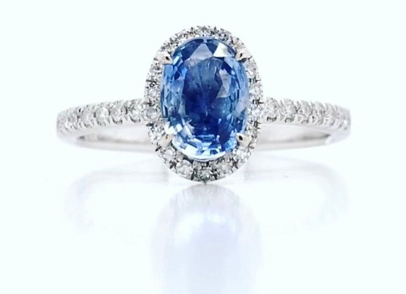New- 14k White Gold 1.10 ct Sapphire & Diamond Ring Appraised $2320