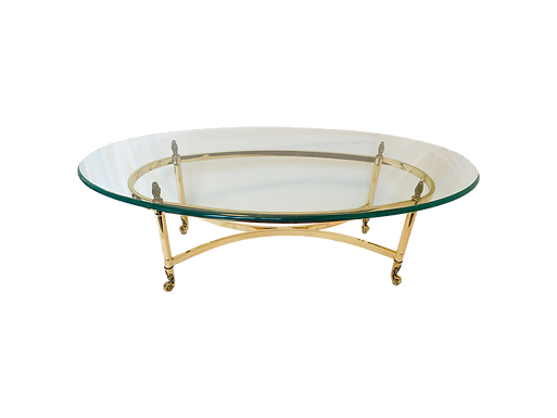 Glass + Gold Oval Coffee Table