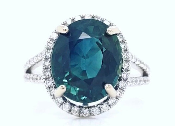 New: 18k White Gold 6.05ct Sapphire & Diamond Halo Ring Appraised $7440