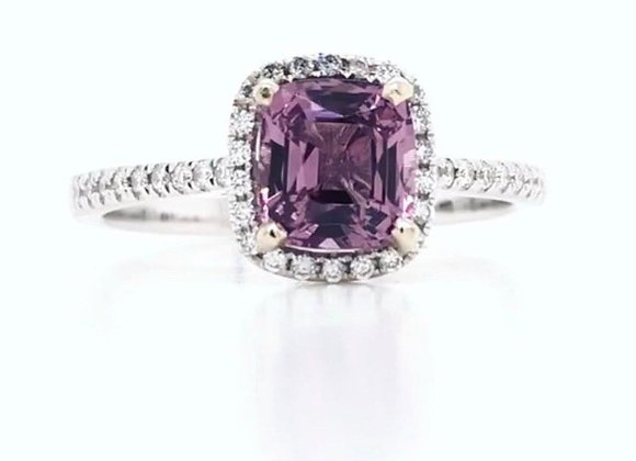 New: 14k White Gold 1.12ct Pink Spinel & Diamond Halo Ring Appraised $2570