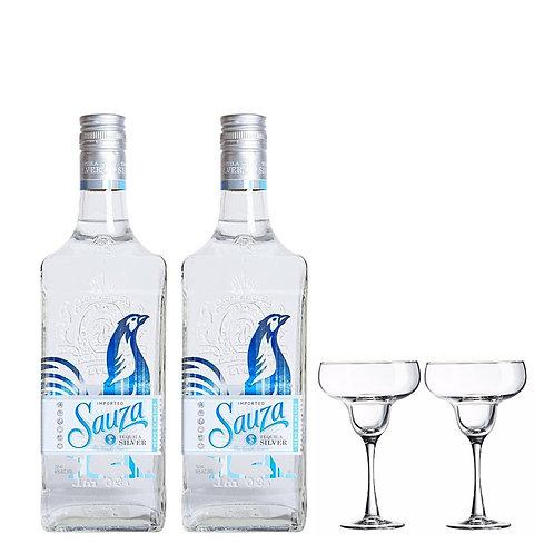 2x Sauza Silver Tequila Bundle 70cl FREE : 2x Margarita Cup