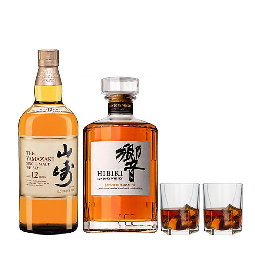 HIBIKI Japanese Harmony 70cl + YAMAZAKI 12 Years Old 70cl FREE : 2x Whisky Glass