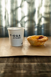 Fresh Italian coffee and Portugese custart tart, as served at Y-oga Store Peckham - come for the yoga, stay for the coffee