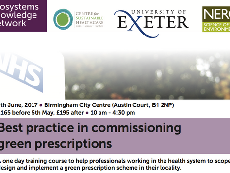Training day in Birmingham in June: how to commission green prescriptions.