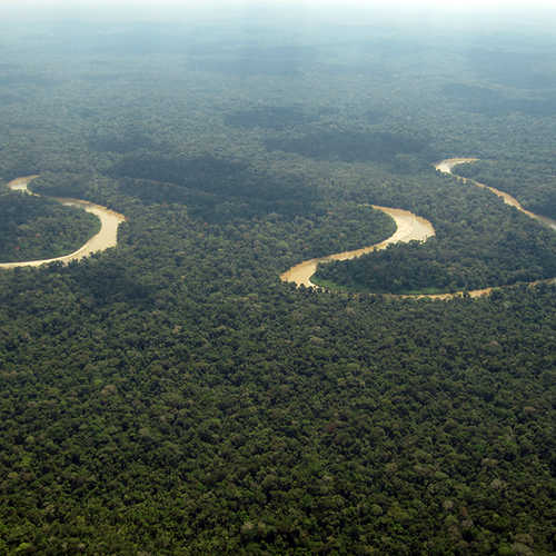The view of the Pastaza river as you land in the rainforest.