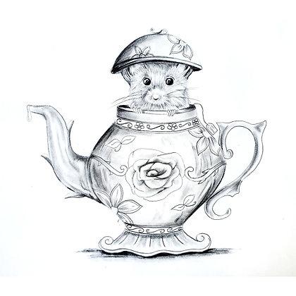 Tiny Teapot Mouse - HB Pencil Drawing - Video Recording