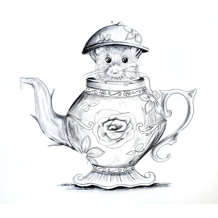 Tiny Teapot Mouse - HB Pencil Drawing