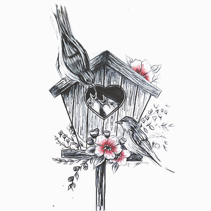 Spring Birdhouse - HB Pencil Drawing - Video Recording