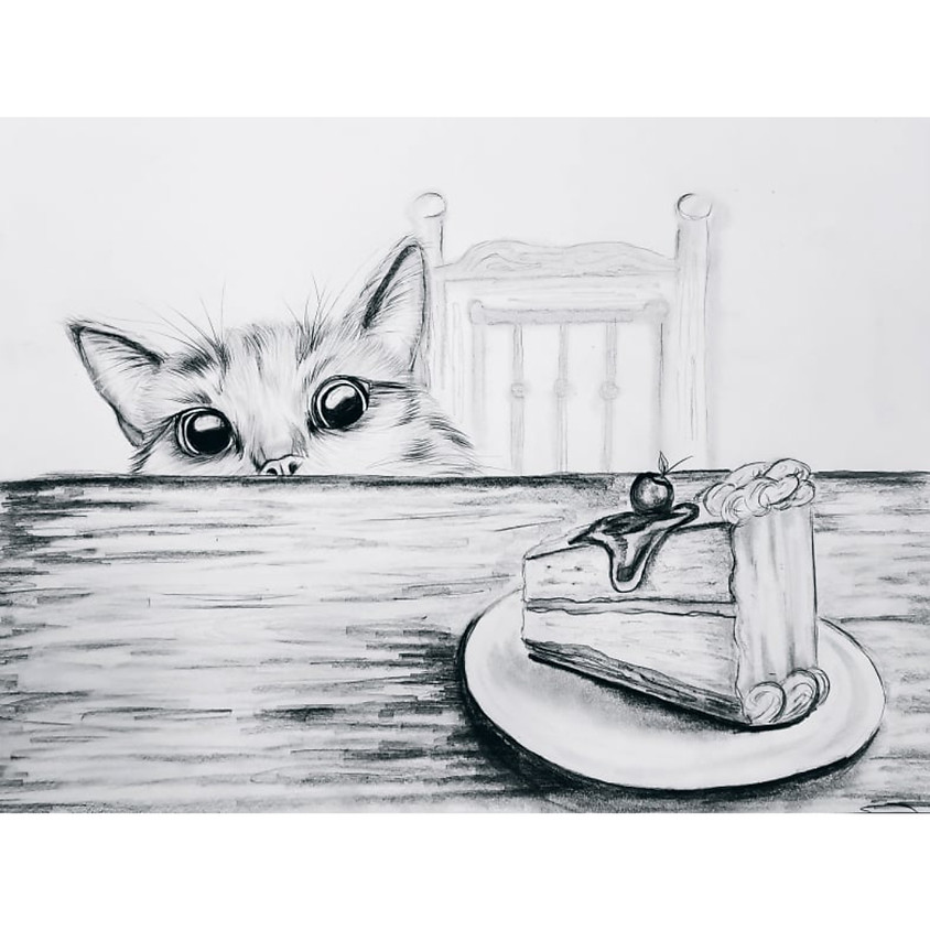Cat and a Cake - HB Pencil Drawing