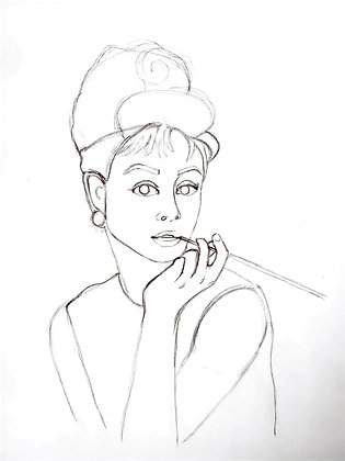 Simplified Audrey Heburn Outline - HB Pencil Drawing - Video Recording
