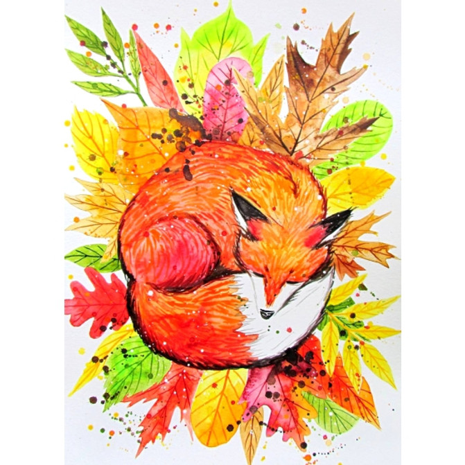 Cozy Fox - Watercolour
