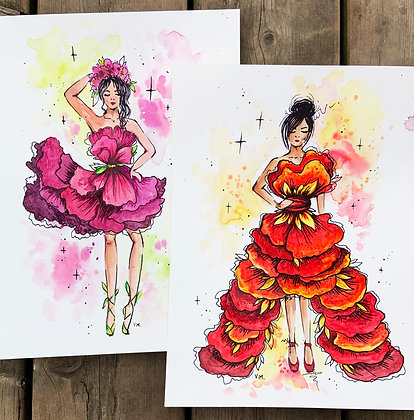 Floral Fashion in Red and Pink Watercolour - Video Recording
