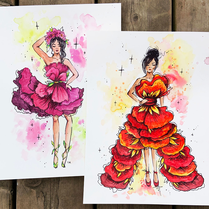 Two-in-one Watercolour - Floral Fashion in Pink and Red