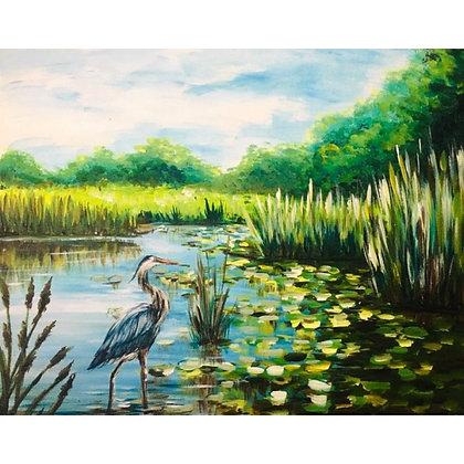 Blue Heron at the Marsh - Video Recording