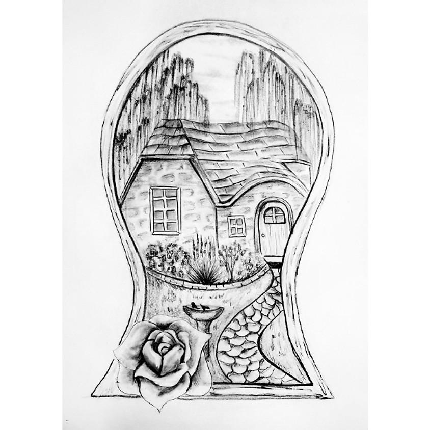 Peeking Through Keyhole - HB Pencil Drawing