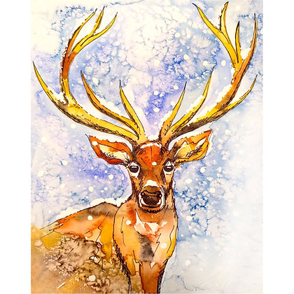 Frosted Stag Watercolour - Video Recording