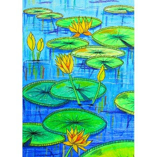 Lily Pond - Oil Pastel - Video Recording