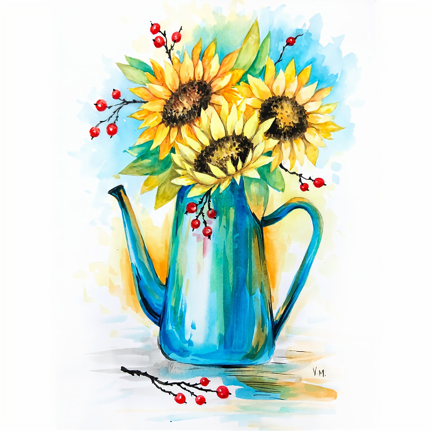 Sunflowers in Watering Can - Watercolour