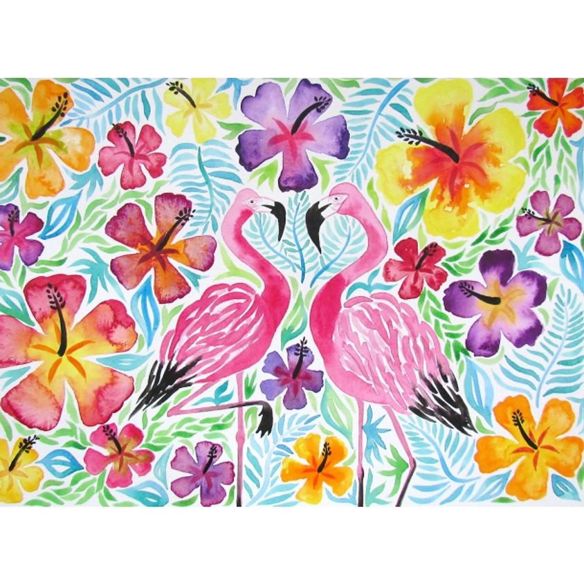 Tropical Flamingo - Watercolour