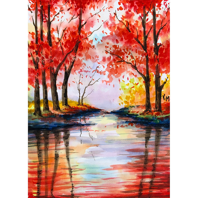 Red Fall - Watercolour