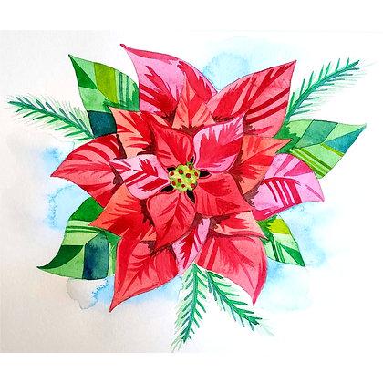 Contemporary Poinsettia Watercolour - Video Recording