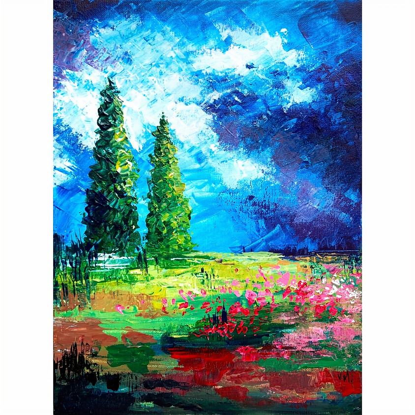Summer Valley - Palette Knife Acrylic Painting