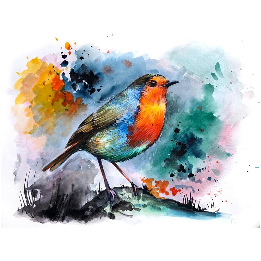 Garden Visitor - Watercolour