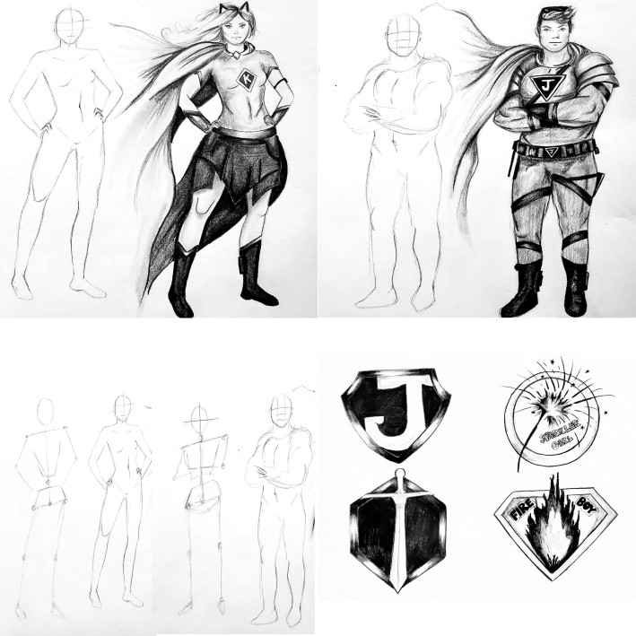 """""""Build Your Own Comic Book characters"""" - Virtual Art Camp"""