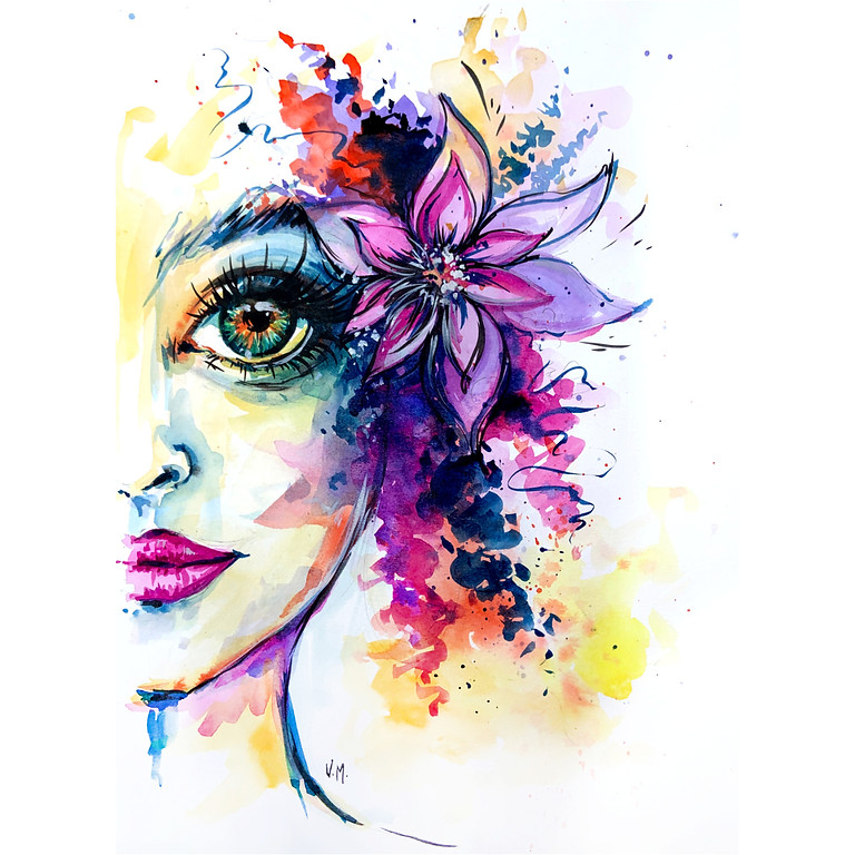 Fire In Her Eyes - Watercolour