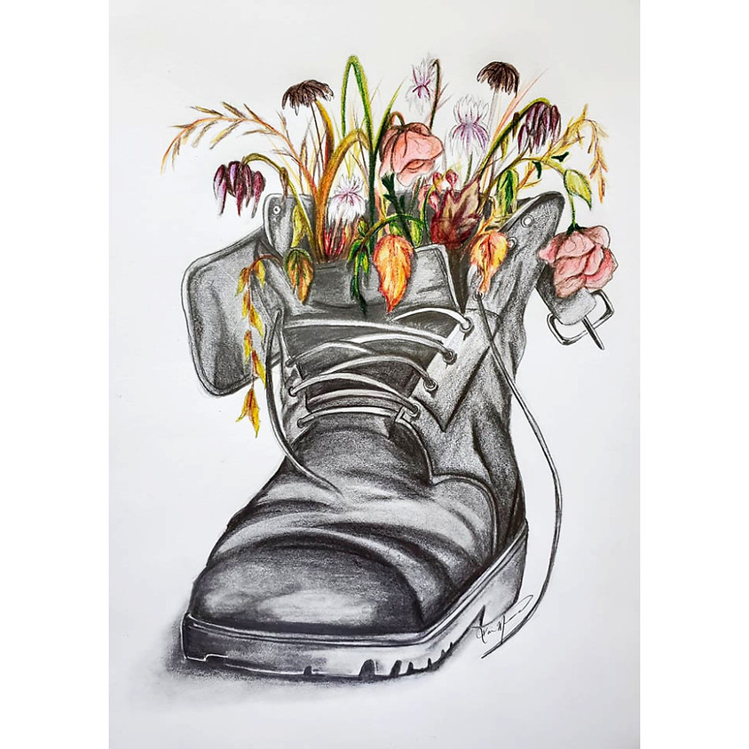Withered n Weathered Boot - Drawing