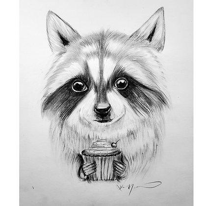 Birthday Raccoon - HB Pencil Drawing - Video Recording