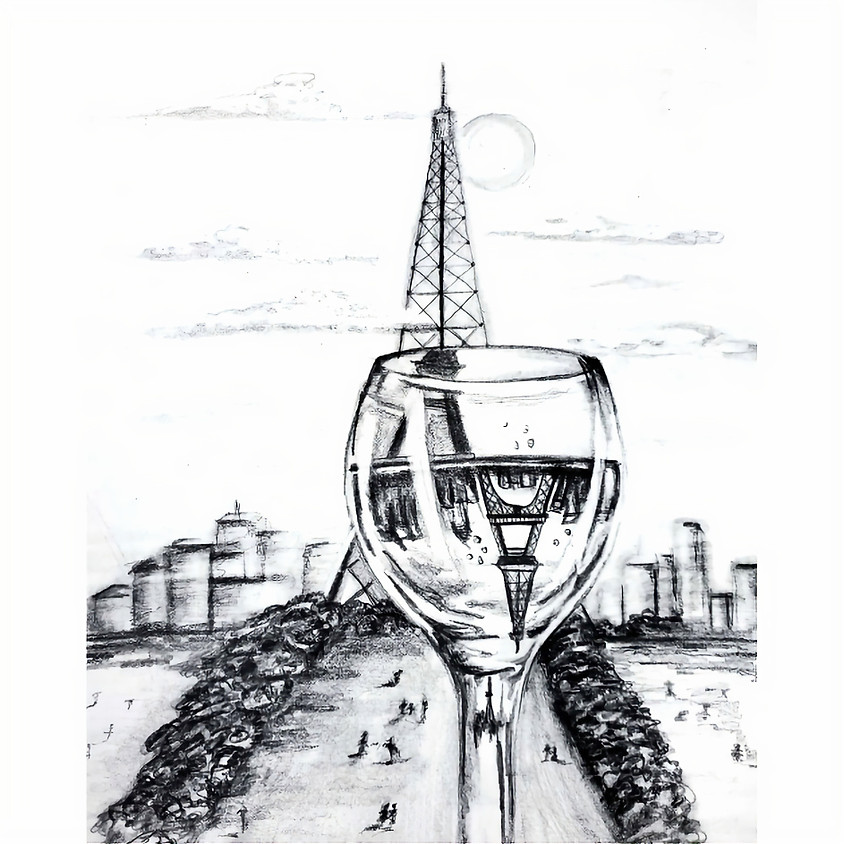 Paris in a Glass - HB Pencil Drawing