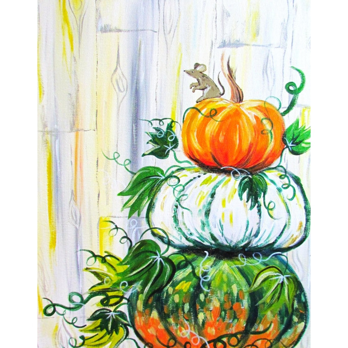Pumpkins and a Field Mouse