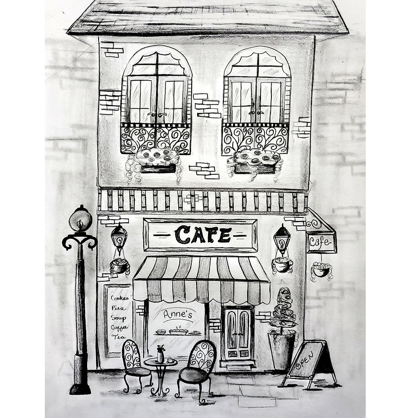 Charming Cafe - HB Pencil Drawing