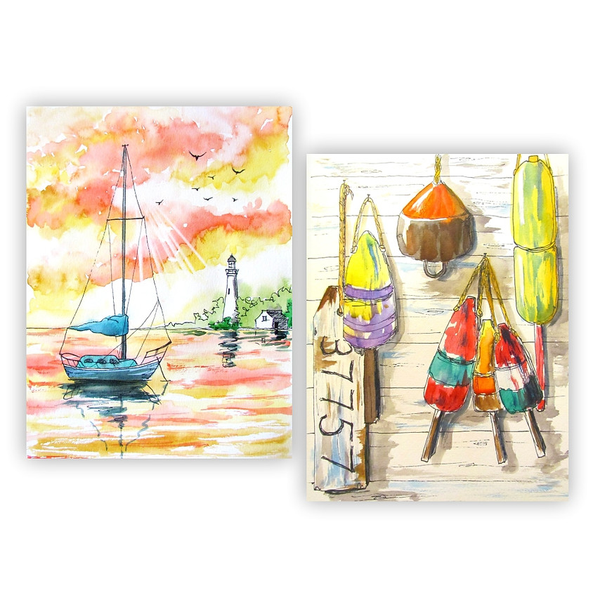 Two in One Nautical Painting - Watercolour
