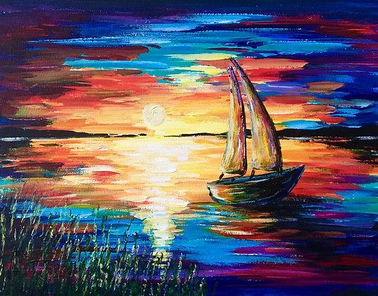 Sailboat at Sunset - Video Recording