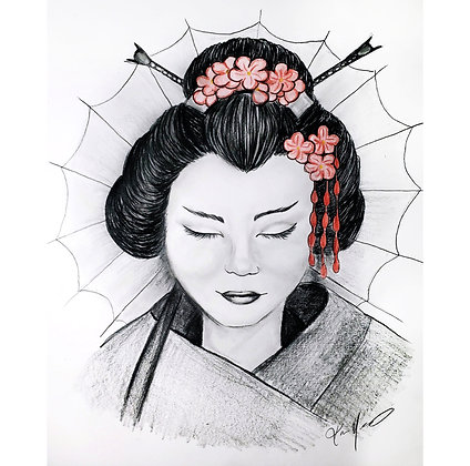 Geisha - HB Pencil Drawing - Video Recording