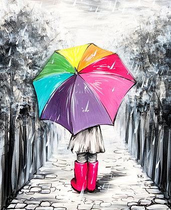 Pink Boots Rainbow Umbrella - Video Recording