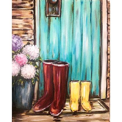 Rain boots and Hydrangeas - Video Recording