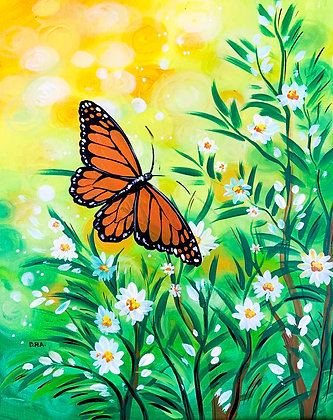 Butterfly in White Daisies - Video Recording