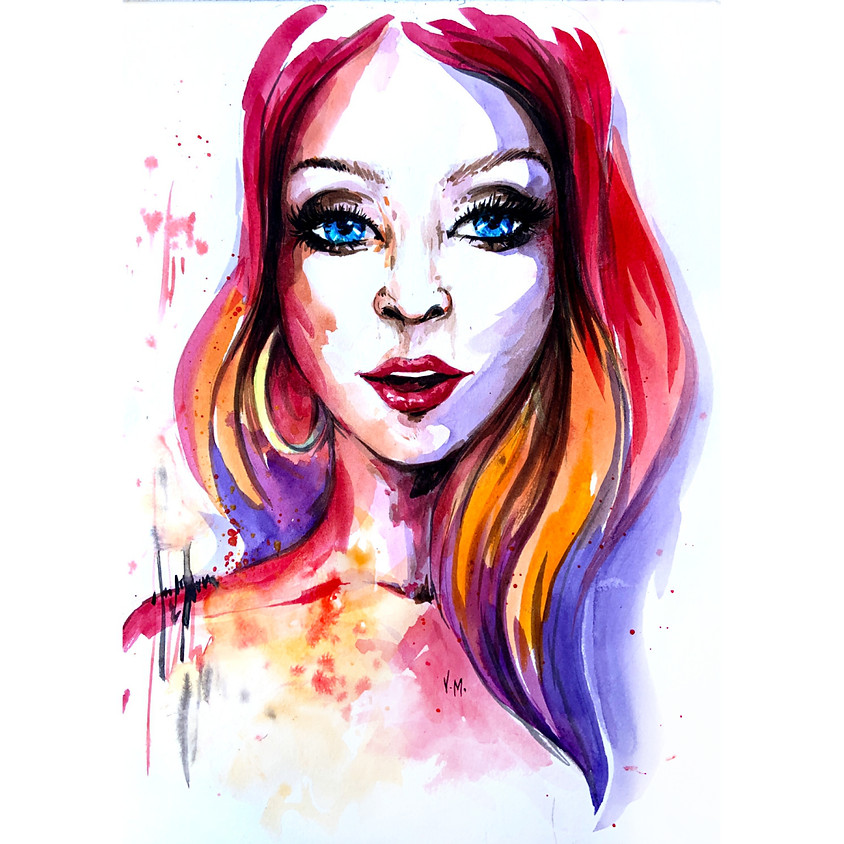Fire In Her Hair - Watercolour