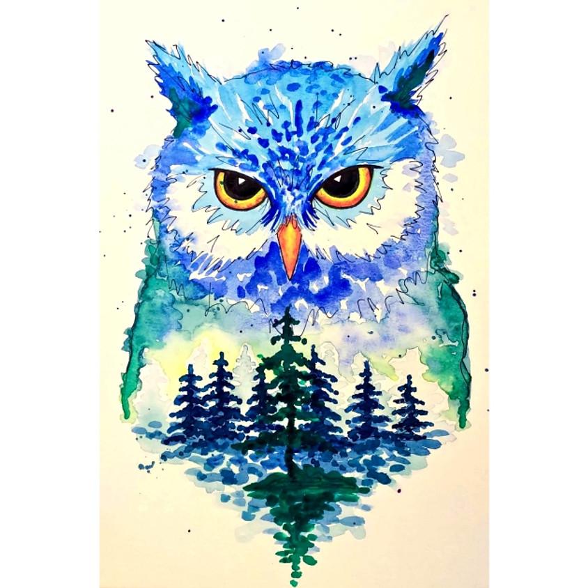 Evergreen Owl Watercolour