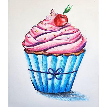 Cherry Cupcake Drawing  - Video Recording