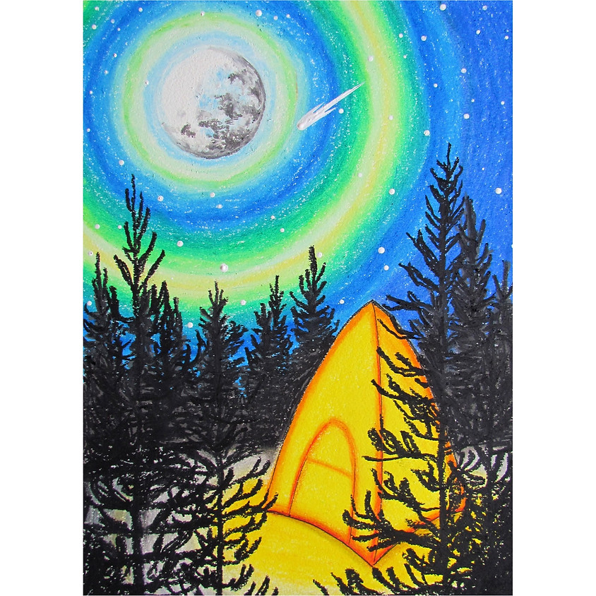 Tent in The Wilderness - Oil Pastel Drawing